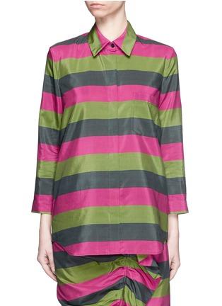 首图 - 点击放大 - ISA ARFEN - 拼色条纹丝混棉衬衫