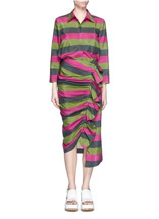 模特儿示范图 - 点击放大 - ISA ARFEN - 拼色条纹丝混棉衬衫