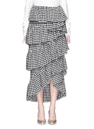 Main View - Click To Enlarge - ISA ARFEN - 'Full-On' ruffle gingham check muslin skirt