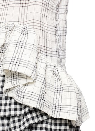 Detail View - Click To Enlarge - ISA ARFEN - Plaid ruffle peplum cotton muslin top