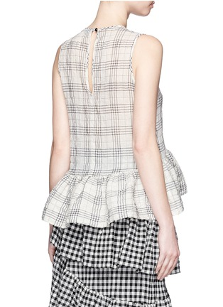 Back View - Click To Enlarge - ISA ARFEN - Plaid ruffle peplum cotton muslin top