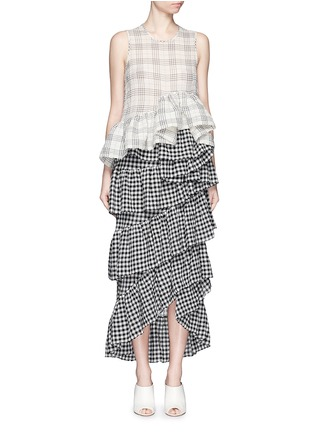 Figure View - Click To Enlarge - ISA ARFEN - Plaid ruffle peplum cotton muslin top
