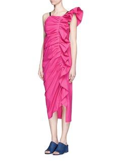 ISA ARFENRuffle shoulder poplin dress
