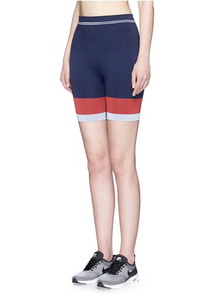 Front View - Click To Enlarge - Lndr - 'Cadet' circular knit high waist bike shorts