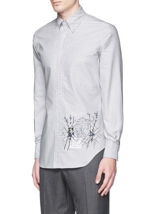 Front View - Click To Enlarge - Thom Browne - Tiger embroidery cotton Oxford shirt