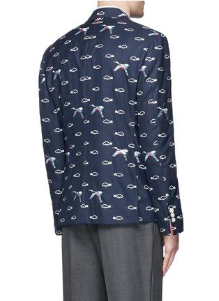 背面 - 点击放大 - THOM BROWNE - 云朵飞鸟刺绣羊毛西服外套