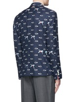 Crane and cloud embroidery wool blazer