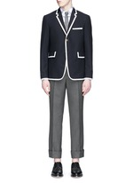 Grosgrain trim wool blazer