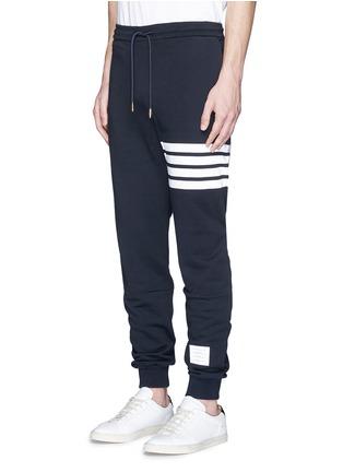 Front View - Click To Enlarge - Thom Browne - Stripe leg cotton sweatpants