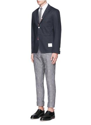 模特儿示范图 - 点击放大 - THOM BROWNE - 罗缎拼贴纯棉西服外套