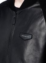 Rib knit sleeve leather bomber jacket