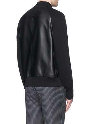 Back View - Click To Enlarge - Givenchy - Rib knit sleeve leather bomber jacket