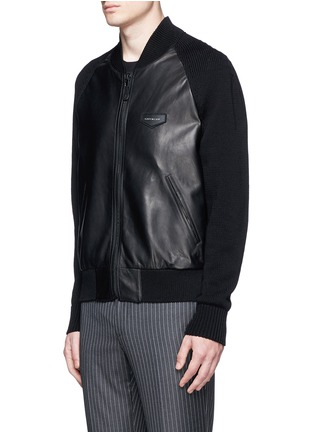 Front View - Click To Enlarge - Givenchy - Rib knit sleeve leather bomber jacket