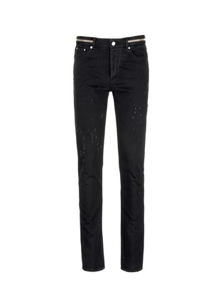 Main View - Click To Enlarge - Givenchy - Zip waist distressed slim fit jeans