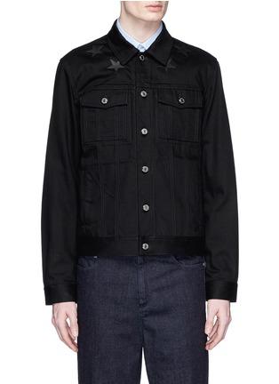 Givenchy-Leather star appliqué denim jacket