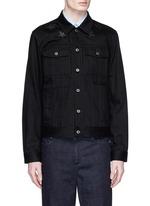 Leather star appliqué denim jacket