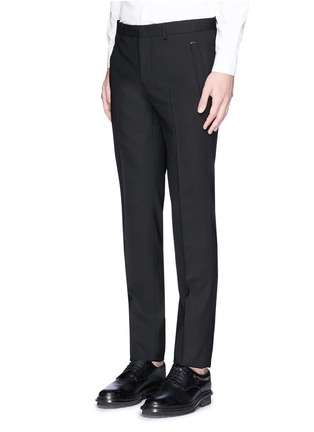 Front View - Click To Enlarge - Givenchy - Metal plate wool hopsack pants