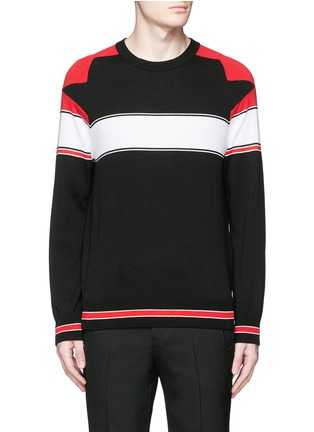 Main View - Click To Enlarge - Givenchy - Intarsia panel cotton sweater