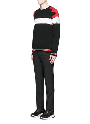 Figure View - Click To Enlarge - Givenchy - Intarsia panel cotton sweater