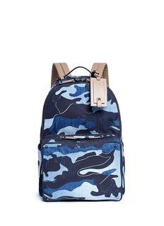 ValentinoCamouflage patchwork denim backpack