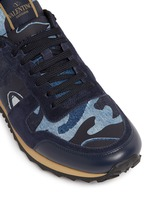 Camouflage patchwork denim sneakers