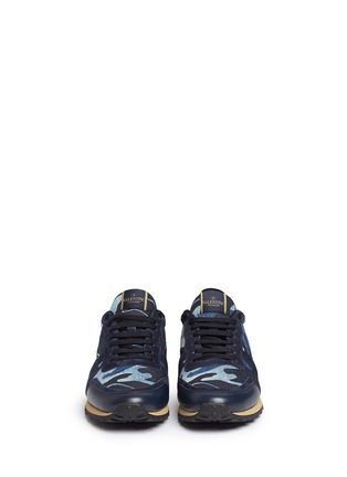 Front View - Click To Enlarge - Valentino - Camouflage patchwork denim sneakers
