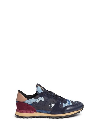 Main View - Click To Enlarge - Valentino - Camouflage patchwork denim sneakers