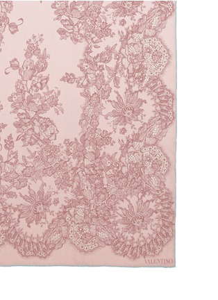 Valentino-Floral lace print silk satin scarf