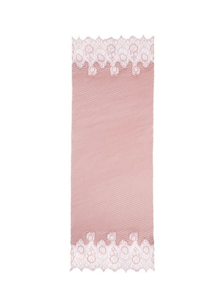 Main View - Click To Enlarge - Valentino - Floral lace trim plissé pleat silk scarf