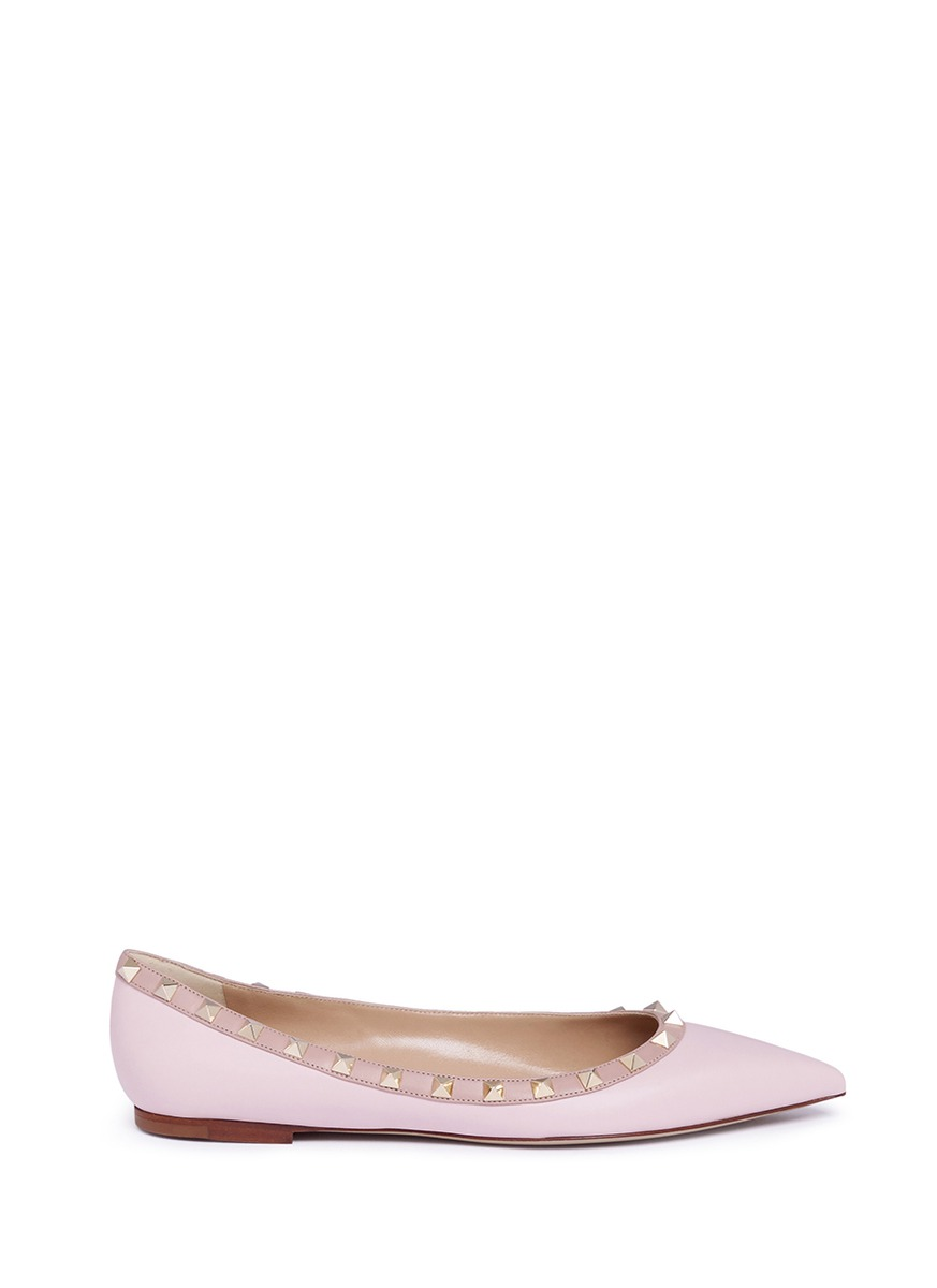 Rockstud leather skimmer flats by Valentino