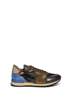 VALENTINO Camouflage print patchwork leather sneakers
