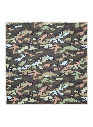 Valentino-Camouflage print cashmere-silk scarf