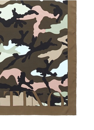 Detail View - Click To Enlarge - Valentino - Logo camouflage print silk twill scarf