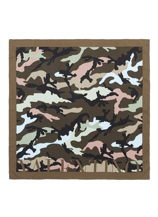 Main View - Click To Enlarge - Valentino - Logo camouflage print silk twill scarf