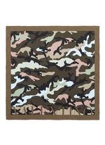 Logo camouflage print silk twill scarf