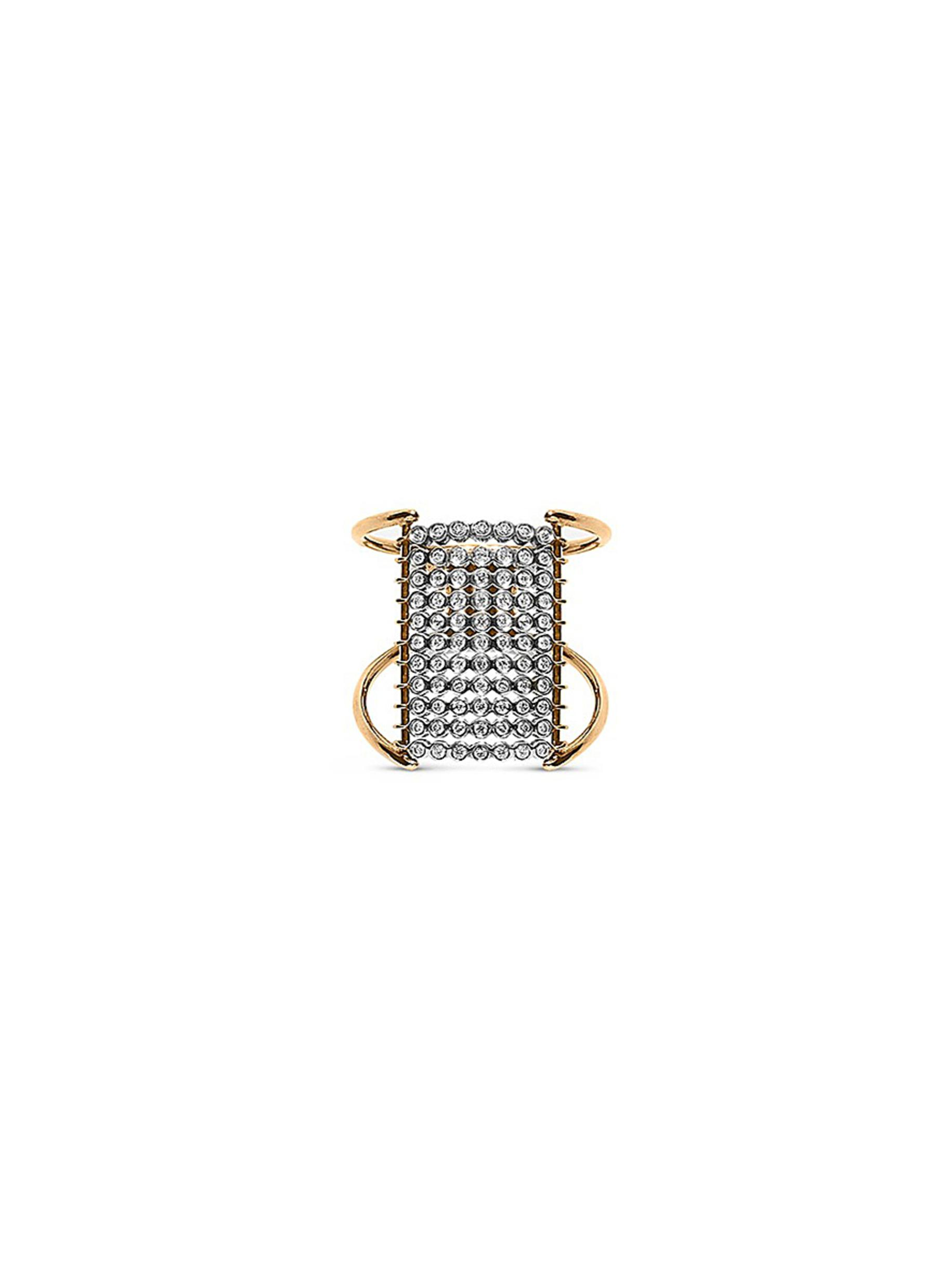 Charnières diamond 18k gold 11 tier ring by Yannis Sergakis Adornments