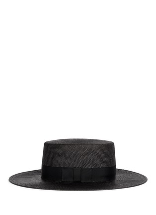 Figure View - Click To Enlarge - Janessa Leone - 'Jane' flat top straw Panama hat