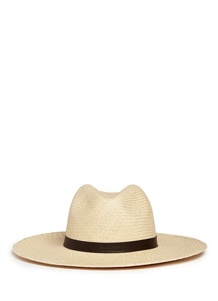 Main View - Click To Enlarge - Janessa Leone - 'Gloria' leather band straw Panama hat