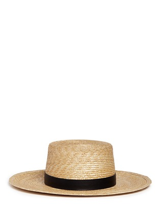 Main View - Click To Enlarge - Janessa Leone - 'Klint' leather band straw Panama hat