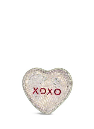 Back View - Click To Enlarge - Judith Leiber - 'Heart Be Mine XOXO' crystal pavé minaudière