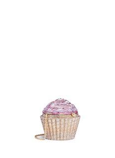 Judith LeiberStrawberry cupcake crystal pavé minaudière