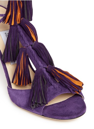 Detail View - Click To Enlarge - Jimmy Choo - 'Mindy 85' tassel charm suede sandals