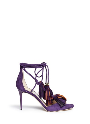 Main View - Click To Enlarge - Jimmy Choo - 'Mindy 85' tassel charm suede sandals
