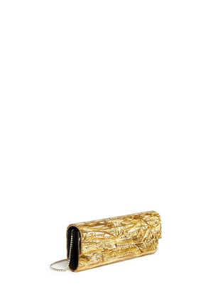 Front View - Click To Enlarge - Jimmy Choo - 'Sweetie' crinkle metallic lamé acrylic clutch