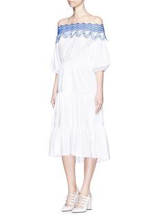 PETER PILOTTO'Pallas' wavy lace trim off-shoulder midi dress