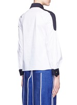 'Penta' balloon sleeve plunge neck poplin shirt