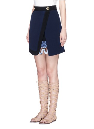 Front View - Click To Enlarge - Peter Pilotto - 'Danis' lace hem wool crepe A-line skirt