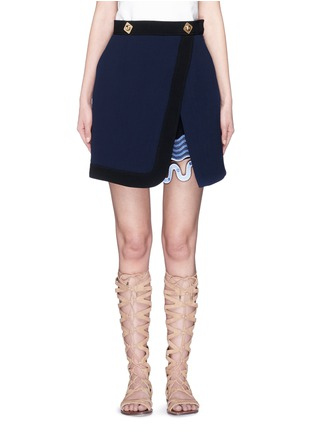 Main View - Click To Enlarge - Peter Pilotto - 'Danis' lace hem wool crepe A-line skirt
