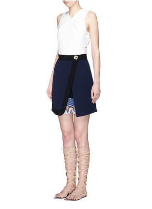 Figure View - Click To Enlarge - Peter Pilotto - 'Danis' lace hem wool crepe A-line skirt