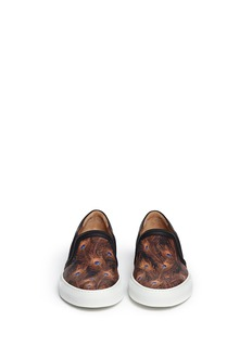 GIVENCHYPeacock print leather skate slip-ons